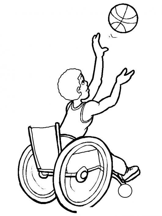 Dibujo de un niño en silla de ruedas jugando al baloncesto